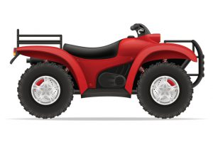 atv motorcycle on four wheels off roads vector illustration isolated on white background